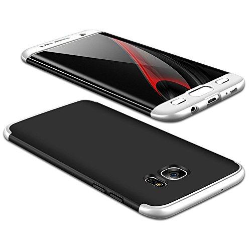 JMGoodstore Funda Compatible Galaxy S7 Edge,Carcasa Samsung S7 Edge,360 Grados Integral Ambas Caras+Cristal Templado,3 in 1Slim Dactilares Protectora Skin Caso Cover Plata+Negro