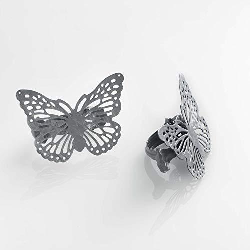 DOUCEUR D'INTERIEUR Raffhalter für den Innenbereich, 6,8 x 8,5 cm, Metall, Patina, Papilio, Grau/silberfarben