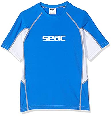 Seac Raa Short Evo, Camiseta para Snorkeling y Natación con Protección UV Unisex niños, Azul (Blau/White), 9/10 años