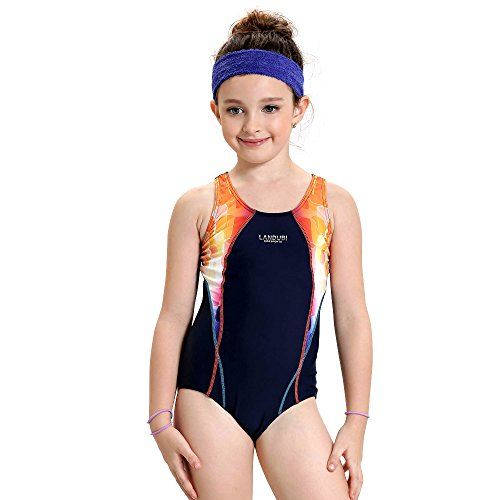 Peacoco Girls' Solid Splice Athletic One-Piece Swimsuits Racerback Competitive Legsuit (152, Navy&Orange)