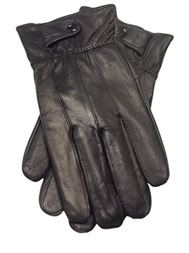 Reed Men's Genuine Leather Warm Lined Driving Gloves (XL, BLACK)