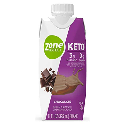 Zone Perfect Keto Shakes, 3g Net Carbs, 0g Sugars, MCTs, Keto-Friendly Snack to Help Manage Hunger, with 18g Fat, 10g Protein, Chocolate, 11 fl oz, 12 Count (67790)