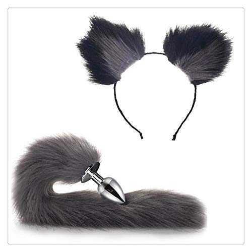 Felpa Orejas de gato Diadema Fox Tail B-ütt an-âl Pl-ùg T-ö-ys Mujeres...