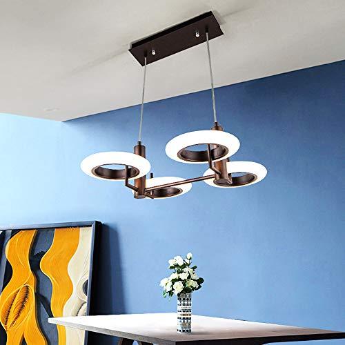 Araña LED anillo moderno diseño led 4 llama 32w lámpara colgante led frío línea de pesca led luz de techo para sala de estar dormitorio colgante lámpara comedor altura ajustable