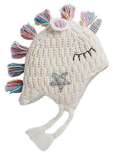 Sombreros de Dinosaurios Tejidos para niños y niñas, Gorro Lindo cálido de Invierno para niños de Dibujos Animados (Blanco-XXL)