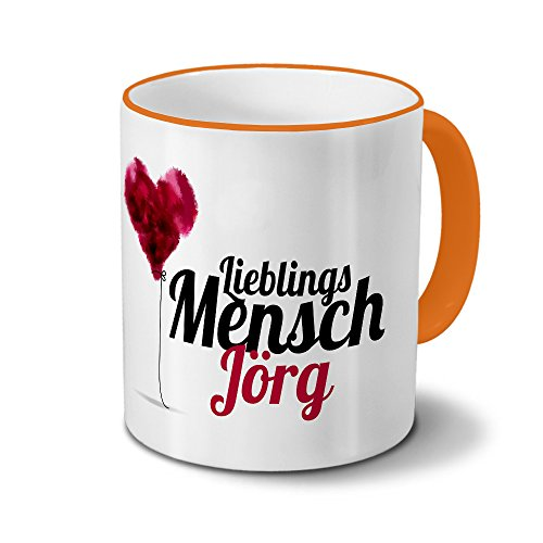 printplanet Tasse mit Namen Jörg - Motiv Lieblingsmensch - Namenstasse, Kaffeebecher, Mug, Becher, Kaffeetasse - Farbe Orange