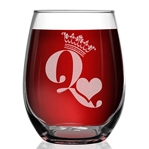Shop4Ever Crown Queen Of Hearts Engraved Stemless Wine Glass