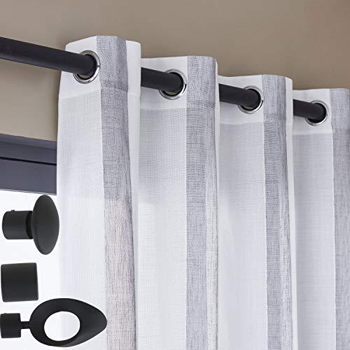 lemoinscherdeladeco Tringle à Rideaux Métal Couleur au Choix Noir ou Blanc Mat Ø 20 mm + 2 Supports Extensibles Longs + 2 Embouts Industry (Longueur Extensible de 1.85 m à 3.50 m, Noir Mat)