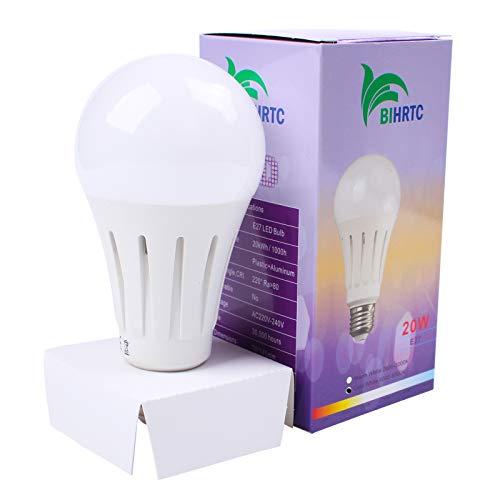 BIHRTC E27 20W LED Lampen A70 Leuchtmittel Kaltweiß 6000-6500K Schraube LED Glühbirne Energiesparlampe ersetzt 140W Glühlampen,220V-240V,2000 LM,220° Abstrahwinkel,Nicht dimmbar LED Leuchtung Birnen