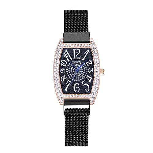 JZDH Relojes para Mujer Moda Relojes de Mujer Número de árabe Rhinestone Imán Hebilla Cuarzo Reloj Elegante Vestido de Mujer Vestido de Pulsera Regalo Relojes Decorativos Casuales para Niñas Damas