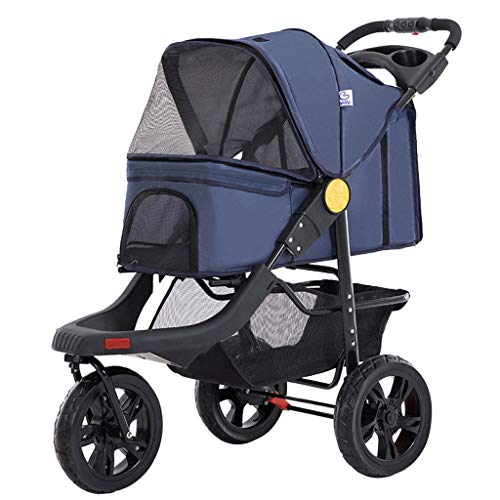 3 Rädern Pet Stroller, Faltbar Katze Hund Pram Carts Kinderwägen Mit Becherhalter, for Medium Large Dog Reisen, Max Loading 25kg