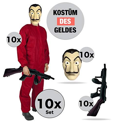 10x Kostüm Haus des Geldes Gruppenkostüm für 10 Personen mit Dali Maske, Gewehr, Overall (10x Set Gruppe)
