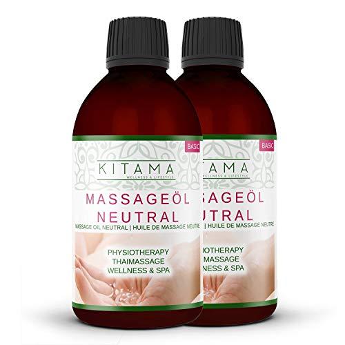 Kitama Massageöl Neutral 1000ml (2 x 500ml) | Körperöl zum Einsatz für Massagen I Für Thai-Massage Physiotherapie & Spa