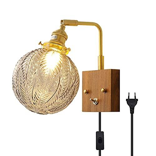 BABYCOW Lámpara de Pared LED Vintage de latón con Cable y Enchufe Lámpara de Pared de Madera Retro Pantalla de Vidrio esférica para Interiores Lámparas de Noche para Dormitorio E14 Aplique de Pared