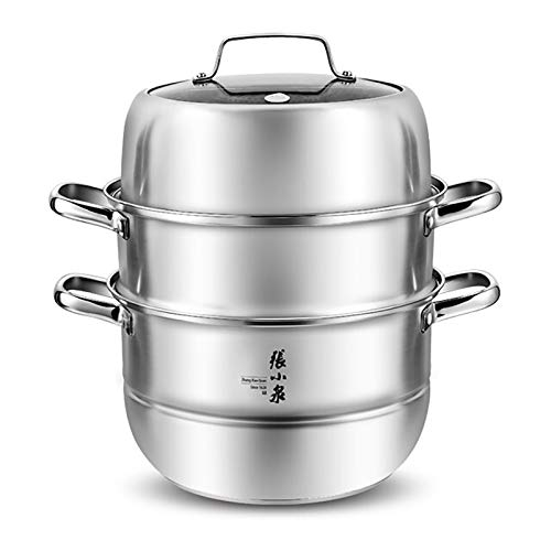 Zhang Xiao Quan Food Steamer Stainless Steel 3 Tier Steamer Pot with Handles on Both Sides, Boiler Pot with Tempered Glass Lid, Work with Gas, Electric, Grill Stove Top,28CM