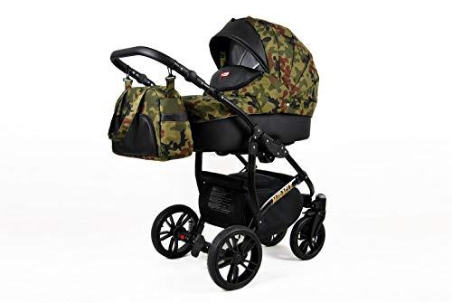 Lux4Kids Kinderwagen BlackOne 3in1 2in1 Megaset Buggy Autositz Babyschale Sportsitz Tactical Moro 2in1 ohne Autositz