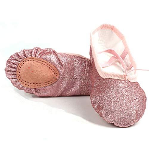 Nexete Ballet Shoes Split-Sole Slipper Flats Ballet Dance Shoes for Toddler Girl Kid Women in Gold,Silver,Pink Glitter Colors (11 Toddler, Rose Gold)