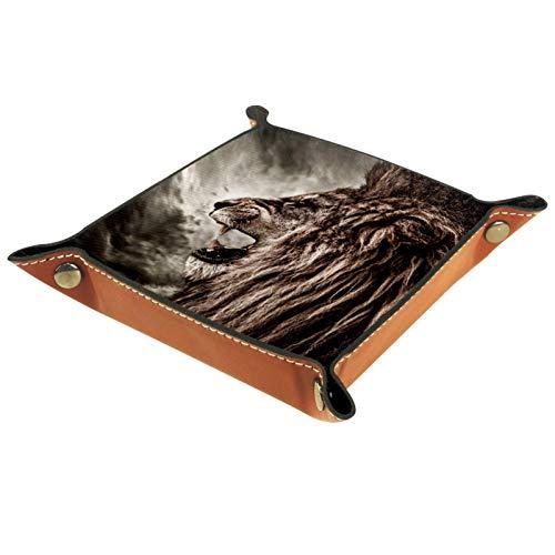 Caja de almacenamiento pequeña, bandeja de valet para hombre,León Animal,Organizador de cuero para llaves de caja de monedas