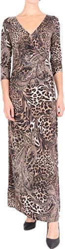 Joys® Robe Portefeuille Longue Femme [ Fabriqué en France ] Élastique Robe Imprime Robe Noir Robe Rouge Robe Marine Robe Kaki (M-L, Leopard)