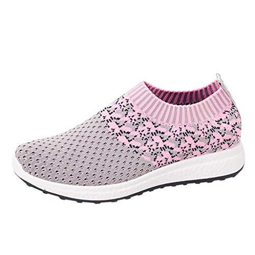 Makalon Paar Mode Freizeit Laufsport Socken Schuhe Damen Student Beiläufig Elastisch Leichtgewichtige Turnschuhe Mädchen Sport Schuhe Stiefeletten Slip On Schuhe Net Schuh (38, Pink-01)