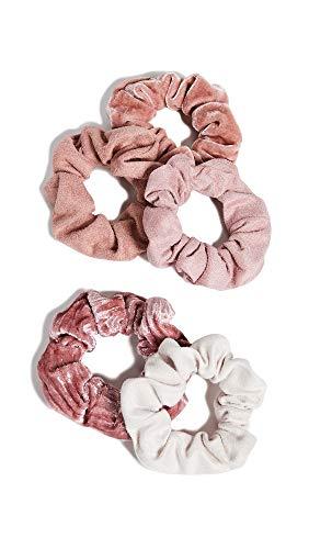 Kitsch Velvet Scrunchies for Hair, Hair Scrunchies for Women, Scrunchy Hair Bands, 5 Pack (Blush/Mauve)