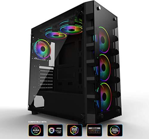 Gelid Solutions Black Diamond Gaming PC Gehäuse - ATX ITX Mid-Tower, 4 ARGB-Lüfter, Kabelmanagement, gehärtetes Glas, USB 3.0-Anschlüsse, Schwarz