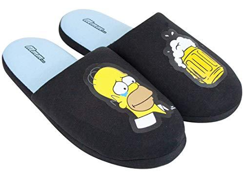 The Slip-mula en los hombres adultos de zapatillas de casa Simpson Homero Negro