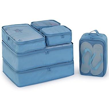 JJ POWER Travel Packing Cubes 6 Set, Luggage Packing Organizers for Week Trip, Packing Bags Large/Medium/Small + Shoe Bag (Sea Blue)