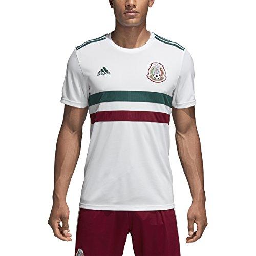 Adidas Mexico Away – playera réplica para hombre, Blanco/Verde Universitario/Borgoña universitaria.,…