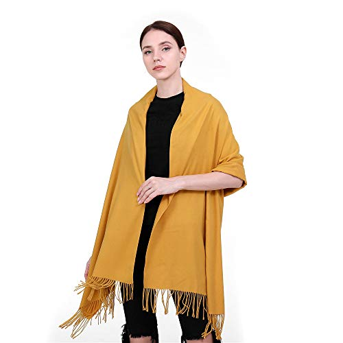 Pashmina grande amarilla con borlas para mujer
