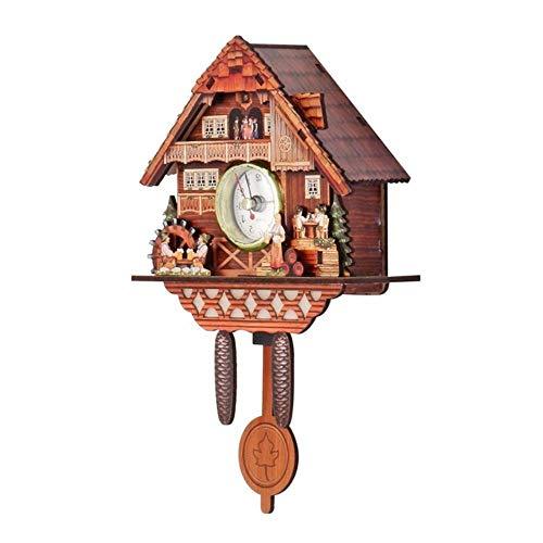 EDCV Koekoeksklok Klok HangtijdAnaloge Auto Swingende klokSlinger Home Decoraties Koekoeksklok Houten wandklok Alarm, 011