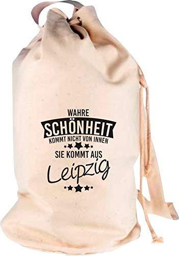Shirtstown Rucksack Seesack, Wahre Schönheit kommt aus Leipzig, Motiv Logo Sack Beutel Tasche Reise Urlaub See Campen, Farbe Natur