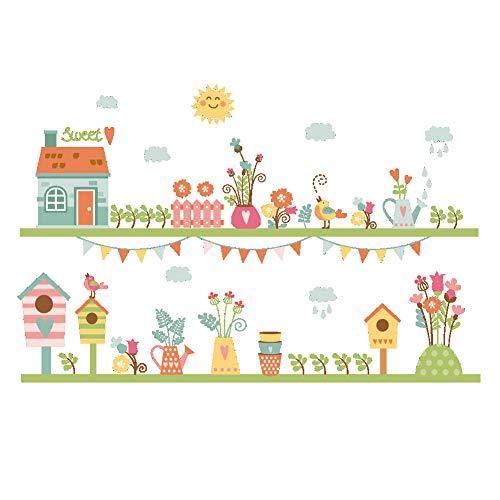 kinderkamer, wandsticker, cartoon in bloempot, nestje, vinyl, wandsticker, knutselen, decoratie, kinderkamer, kinderkamer, kinderkamer, wanddecoratie
