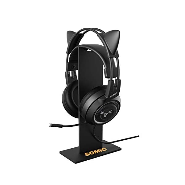 Somic Black Headphone Stand Gaming Headset Holder With Solid Base And Flexible Earphone Hanger With Supporting For All Headphones Size