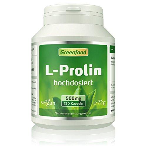 L-Prolin, 500 mg, hochdosiert, 120 Kapseln, vegan – wichtige Aminoäsure. Hergestellt durch Fermentation. OHNE künstliche Zusätze. Ohne Gentechnik. Vegi-Kapseln.