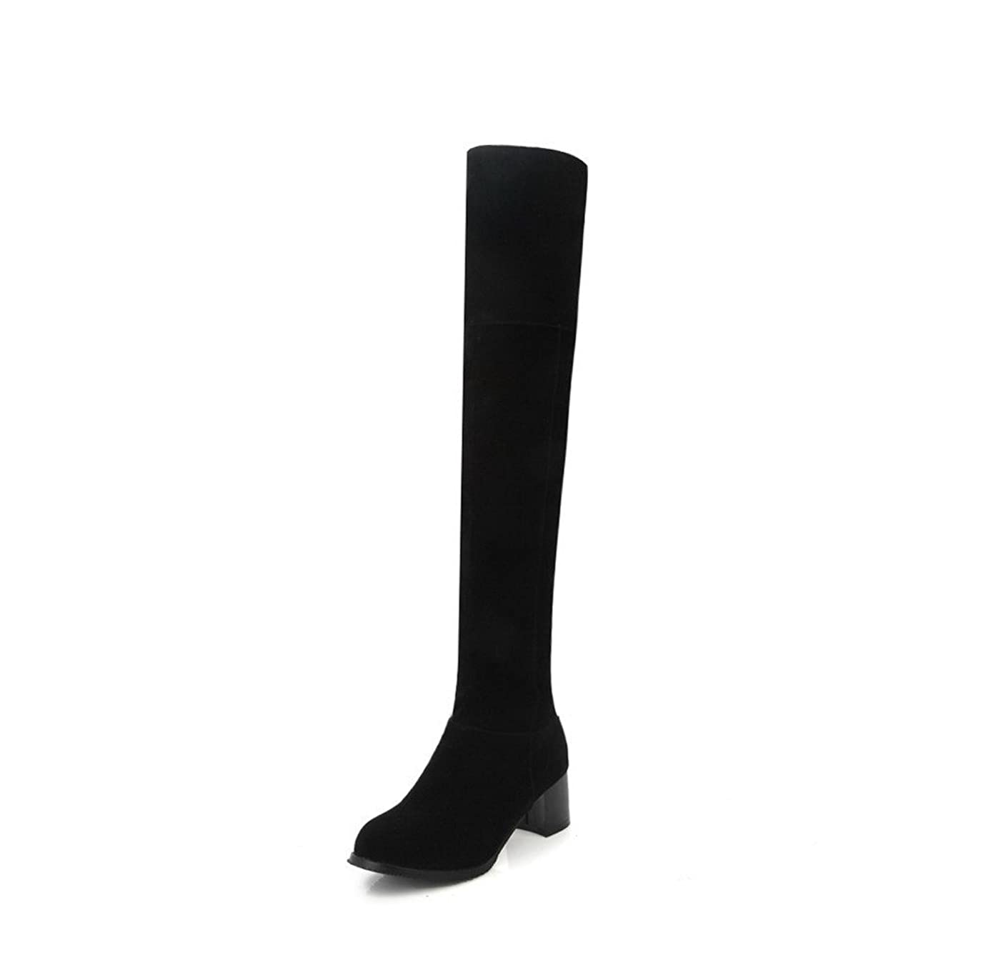 受信機扱いやすい殺す(オールエイチキューファッション) AllhqFashion レディース 中ヒール ミシンで縫い糸 ジッパー ヌバック ラウンドトゥ ロングブーツ F2AQXE033128 21.0cm ブラック