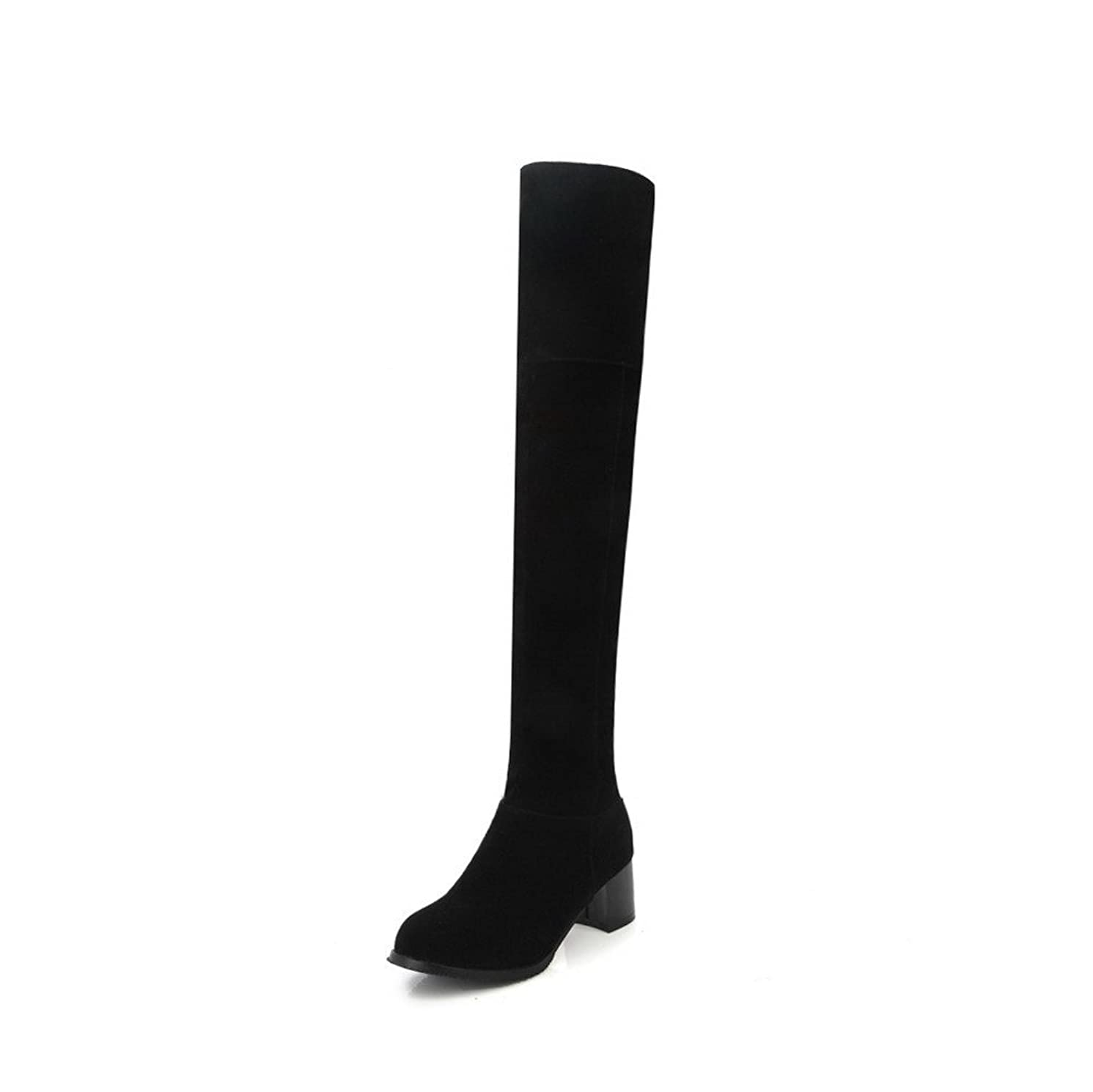 真鍮ペンダント幸運なことに[ヴォーグゾーン009] レディース ラウンドトゥ 中ヒール ヌバック ミシンで縫い糸 ジッパー ロングブーツ 030223 25.5cm ブラック