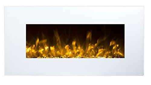 GLOW FIRE Neptun camino elettrico con riscaldamento, camino a parete con LED   fuoco artificiale con termoventilatore commutabile: 750/1500 W   telecomando, 84 cm, bianco