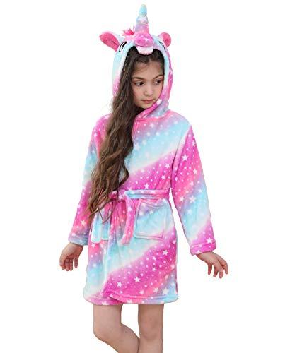 Ruiuzioong Accappatoio Morbido per Bambini Unicorno Pigiama in Pile con Cappuccio Vestaglia Lussuosa Caldo Indumenti da Notte Comodi Carino Loungewear Vestaglia (Pink, 6-7 Anni)