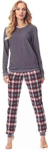 Merry Style Pijama Conjunto Camiseta y Pantalones Mujer MS10-168(Melange Oscuro Burdeos, M)