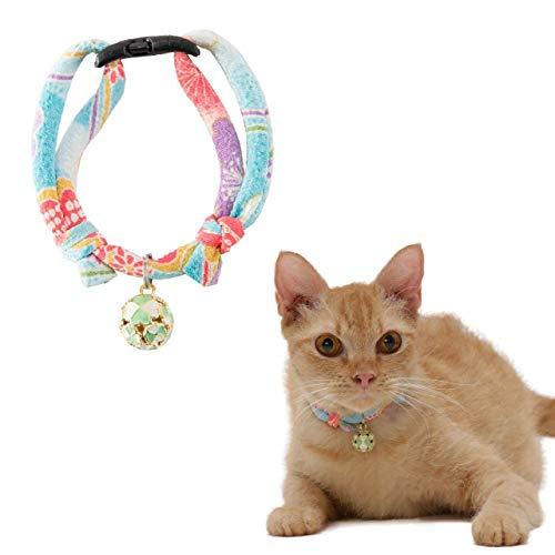 Necoichi Chirimen Cat Collar with Clover Bell, Baby Blue