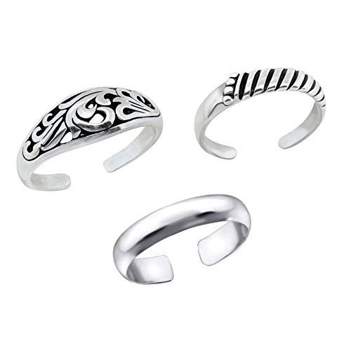 FIVE-D, set di 3 anelli per dita dei piedi, design alla moda, misura regolabile, in confezione regalo