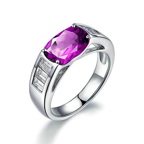 Bishilin Alianza de Boda S925 Plata de Ley para Novia Ajuste Cómodo Púrpura Oval Cristal Piedra del Zodíaco Anillo de Alianza de Boda de Compromiso de Aniversario Plata Talla: 6,75