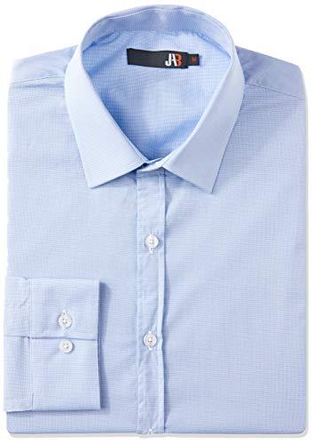 JAB Camisa Social Manga Longa Lisa Elastano Masculino, Tam G, Azul