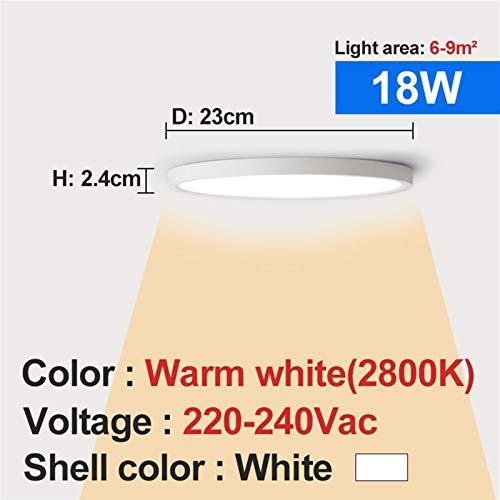 Sencillez Luz de techo LED 12W 18W 24W 32W 220V 5000K Dormitorio de cocina Lámparas de baño Lámpara de techo ultrafina para el pasillo de la sala de estar (Body Color : 18W 2800K)