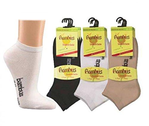 Wowerat 6 Paar superweiche Bambus Sneaker-Socken 43-46 beige
