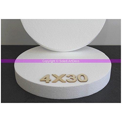 Lealoo Disque épaisseur 4 cm, diamètre 30 cm, polystyrène Pro Haute densité, 28 kg/ m3