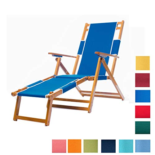 Frankford Umbrellas Heavy Duty Commercial Grade Oak Wooden Beach Chair Folding Wood Chaise Lounger
