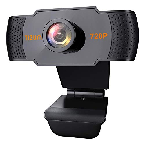 Tizum HD 720p Webcam, Manual Focus, Widescreen Viewing Angle, Auto Light Correction, Noise-Reducing Mic, Video Calling/Conferencing; Online Teaching or Gaming for Skype, Xbox, PC/Mac/Laptop/MacBook
