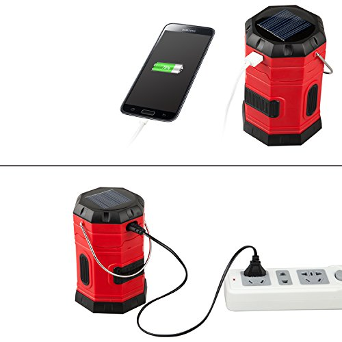 TANSOREN 4 Pack Portable LED Camping Lantern Solar USB Rechargeable or 3 AA Power Supply, Built-in Power Bank Compati Android Charge, Waterproof Collapsible Emergency LED Light with